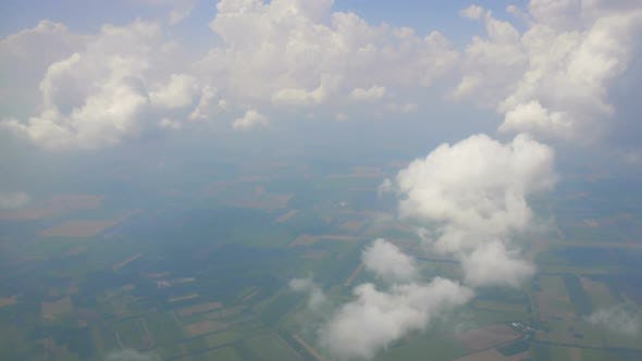 Thin Clouds and Fog Hanging Over Fields High in Sky, Saving Atmosphere, Ecology