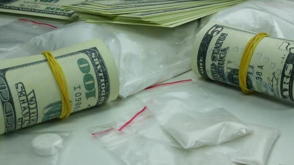 Thumbnail for Illegal Dirty Profit Of The Drug Cartel From The Sale Of Cocaine And Narcotic Tablets