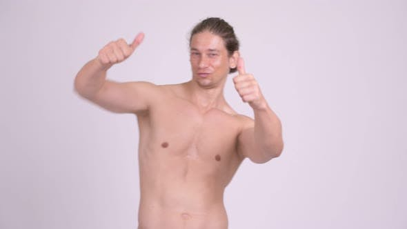Thumbnail for Happy Muscular Shirtless Man Looking Excited While Giving Thumbs Up