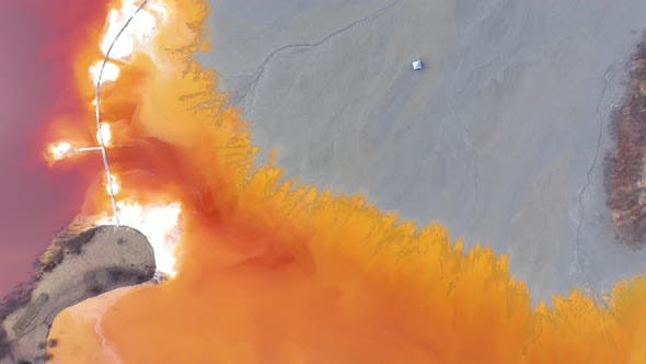 Thumbnail for Flying Over Chemical Waste Water Polluted With Contaminated Mining Residuals