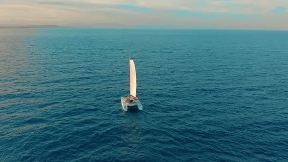 Thumbnail for Catamaran Sailing on the Sea. Aerial Shoot of the Catamaran Sailing in the Wind