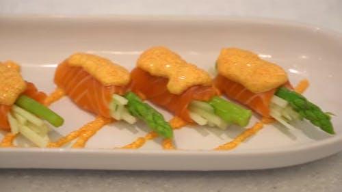 Raw fresh salmon meat sashimi
