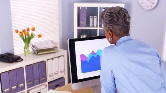 Thumbnail for Senior black businesswoman analyzing charts on computer