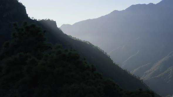 Aerial View Of La Palma Island Mountains Landscape in Caldera de Taburiente National Park