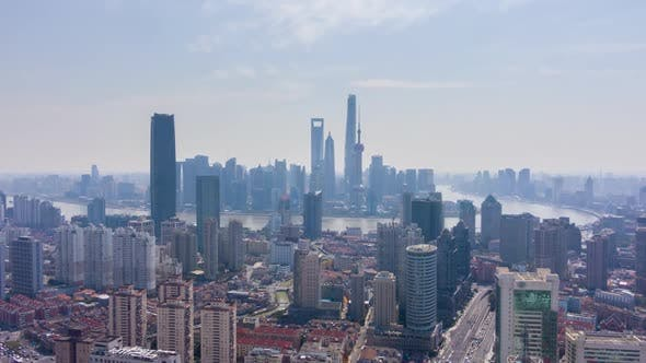 Thumbnail for Shanghai City. Urban Lujiazui Skyline at Sunny Day. China. Aerial View