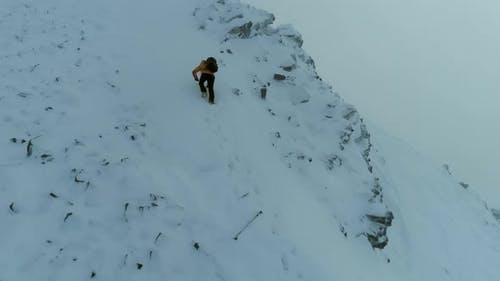 Mountain Climber on a Challenging Snowy Climb