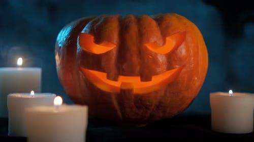 Halloween Pumpkin On Dark Smoky Background