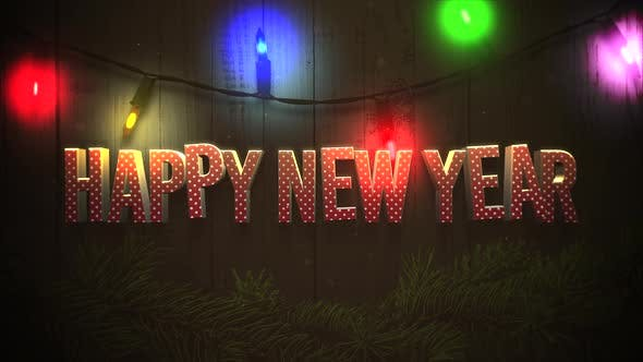 Thumbnail for Animated closeup Happy New Year text and colorful garland on wood background