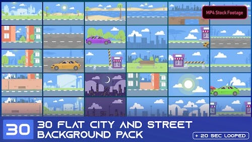 30 Flat City And Street Background Footage Pack