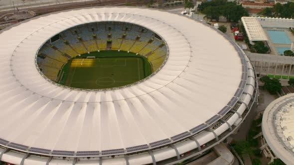 Aerial footage of Maracana Soccer Stadium - Rio de Janeiro, Brazil.