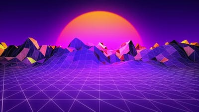 80s vintage retro sunset landscape