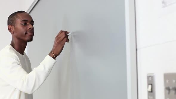 High school student using blackboard