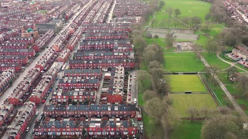 Aerial photo of the village of Beeston in Leeds West Yorkshire