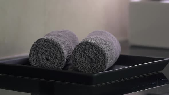 Thumbnail for Housekeeper Placing Clean Towels in Hotel Room