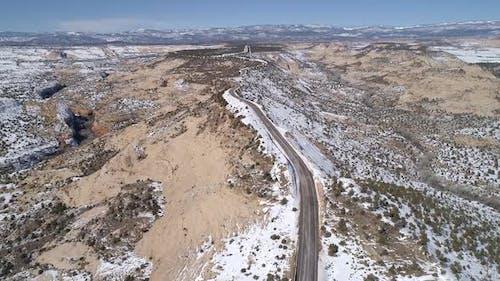Aerial view of The Hogsback on HWY 12 in Escalante Utah