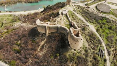 Fly Over Small Fortress Ruins In Mtskheta