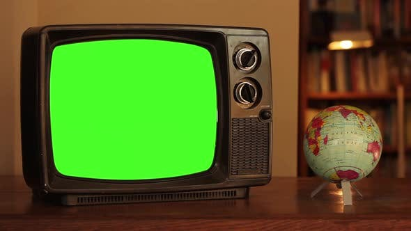Thumbnail for An Old TV Green Screen And A World Globe Map.