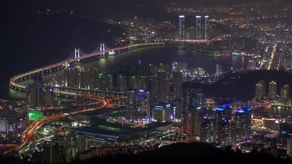 Gwangan Bridge at Colorful Night in Busan, Korea