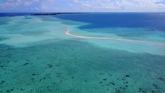 Cover Image for Tropical birds eye abstract view of a white sandy paradise beach and aqua blue ocean background in h
