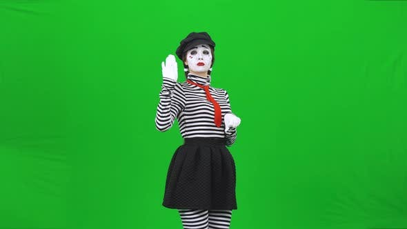 Thumbnail for Mime Girl Acting Like She Is a Horsewoman. Chroma Key.