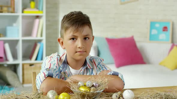 Thumbnail for Little Boy Posing at Desk with Easter Eggs on Hay