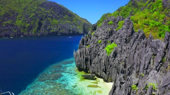 Thumbnail for Jagged Limestone Cliffs of Matinloc Island at Palawan, Philippines