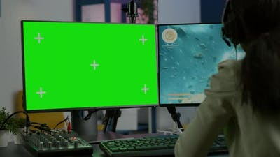 Black Woman Gamer Streaming with Chroma Key Display