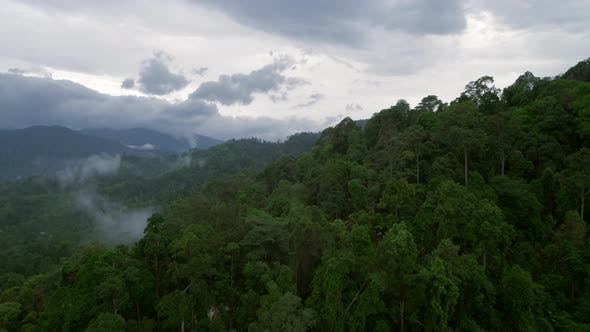Aerial Drone Shot of Foggy Rainforest Mountains in Thailand Monsoon Season