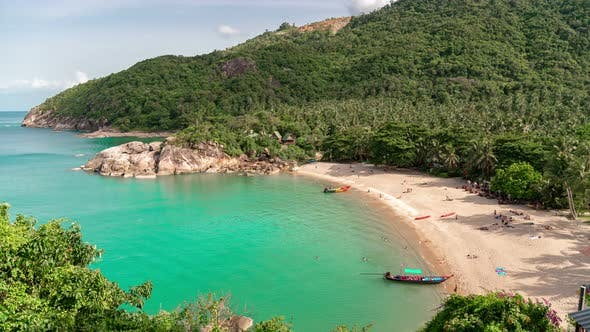 Thumbnail for Panorama of blue water at Haad Than Sadet Beach beach, koh Phangan island, Thailand