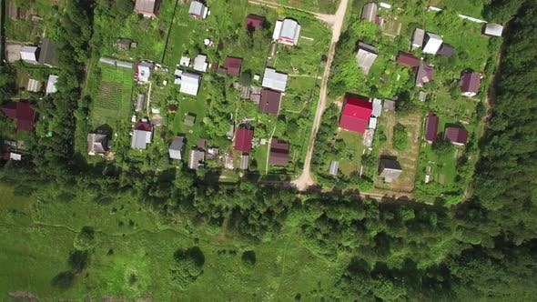 Thumbnail for Top View of Country Houses in Sun Day at Summer, Russia
