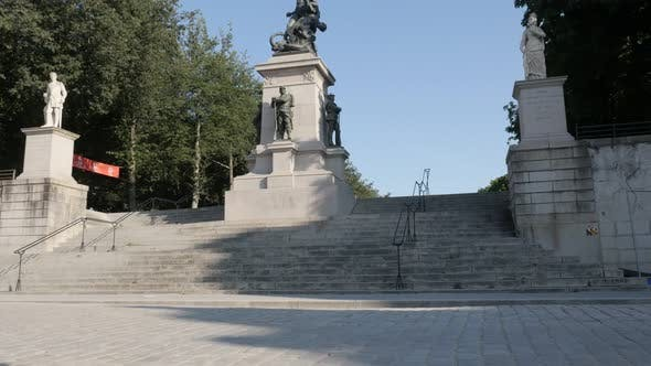 Thumbnail for NANTES, FRANCE - JULY 2016 Monument of dead of war 1870 in city center with sculptures and columns -