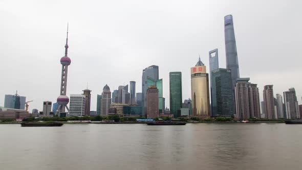 Thumbnail for Shanghai Huangpu River Reflecting Pudong New Area Timelapse