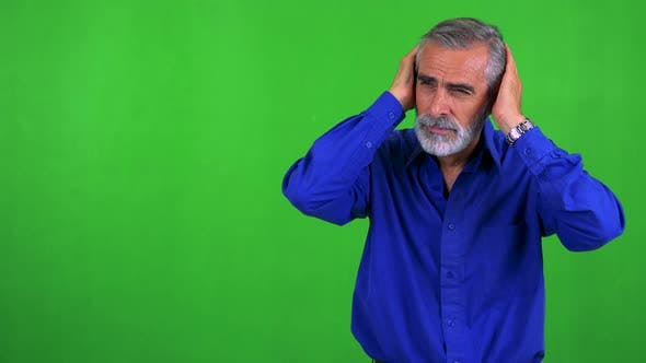 Thumbnail for Old Senior Man Is Angry - Green Screen - Studio