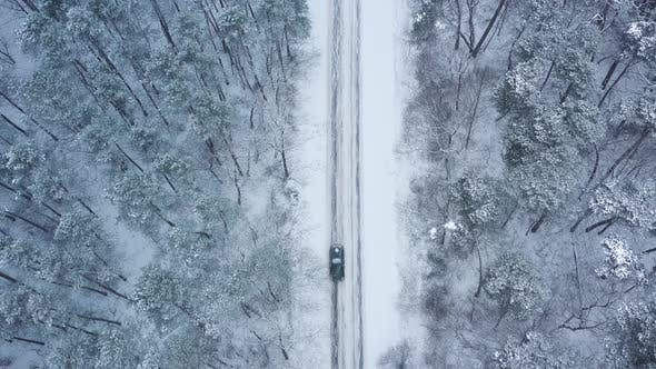 Aerial View of a Car Rides on a Road Surrounded By Winter Forest in Snowfall