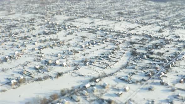 Thumbnail for Fly Over Winter Suburb Aerial Survey Tilt Shift