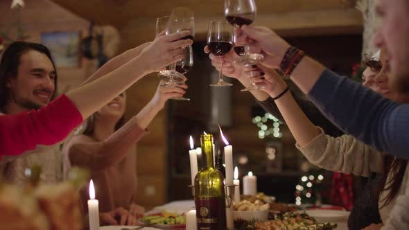 Thumbnail for People  toasting at a Christmas dinner