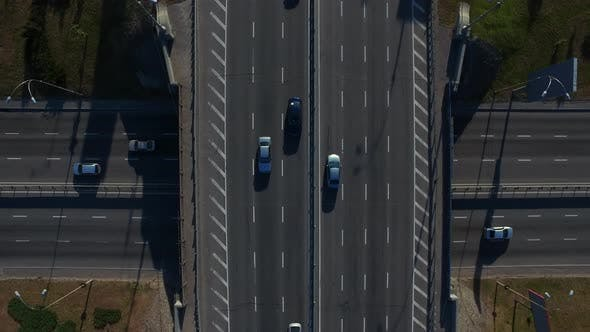 Thumbnail for Drone View Car Driving on Highway Bridge. Top View Car Traffic on Highway Flyove
