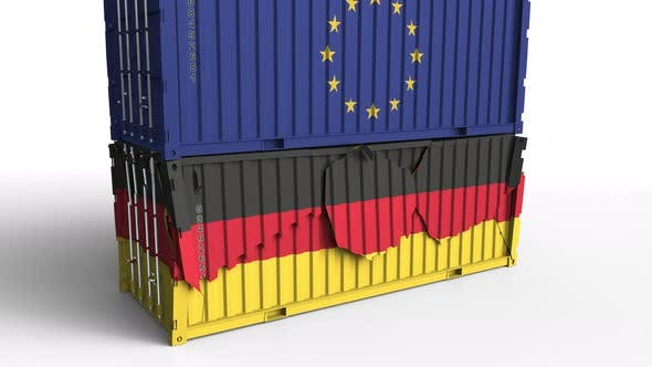 Thumbnail for Container with Flag of the EU Breaks Container with Flag of Germany