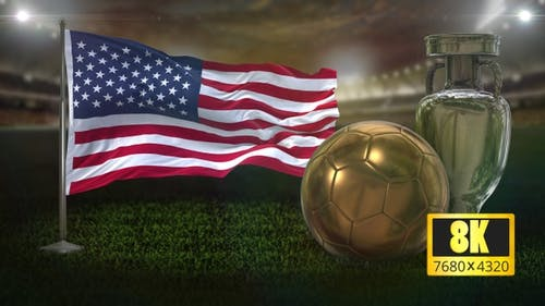 8K USA Flag with Football And Cup Background Loop