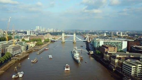 Aerial London Thames River View near Tower Bridge