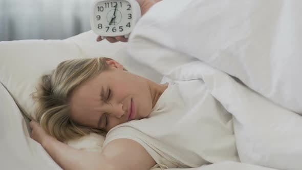 Thumbnail for Alarm Clock Waking Up Student, Girl Covering With Blanket and Goes on Sleeping