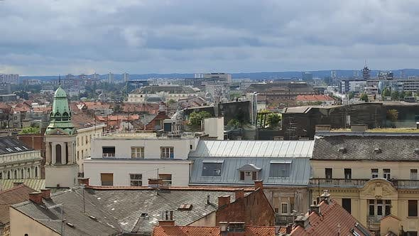 Thumbnail for Panorama of Amazing Historical Building of Zagreb From the Top, View on Roofs