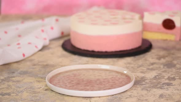 Thumbnail for A Piece of Delicious Strawberry Mousse Cake. Modern Dessert.