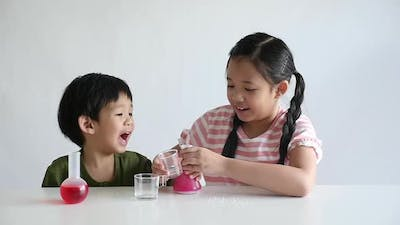 Asian Children Play Science Experiments