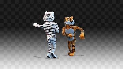 Tiger and tigress dancing salsa view on Tiger