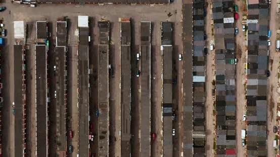 Thumbnail for Aerial view to old garage cooperative - car storage community, parking