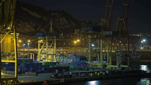 Thumbnail for Timelapse of Container Traffic in Industrial Port at Night, Spain