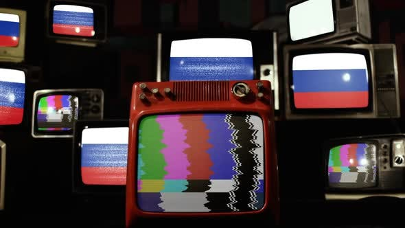 Flag of Russia on Retro TV Stack.