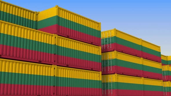 Shipping Containers with Flag of Lithuania