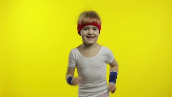 Thumbnail for Young Child Girl in Sportswear Making Fitness Exercises, Running, Workout for Kids, Sporty Child